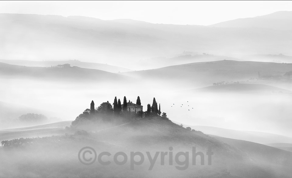 "The winner of the mono prints section went to Jim Stevenson for his image ""Misty Belvedere"""